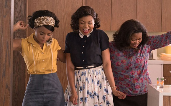 DF-03283_R3 - Mary Jackson (Janelle Monae, left), Katherine Johnson (Taraji P. Henson) and Dorothy Vaughan (Octavia Spencer) celebrate their stunning achievements in one of the greatest operations in history. Photo Credit: Hopper Stone.